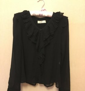✅ Чёрная шифоновая блузка, размер S-XS