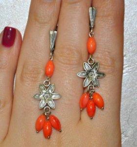 Серьги из коралла оранжевого (натуральный)