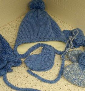 Набор шапка, капор, носки, варежки