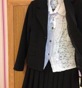 Школьный сарафан+пиджак+блузка