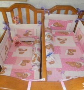 Кроватка для двойни из натурального дерева