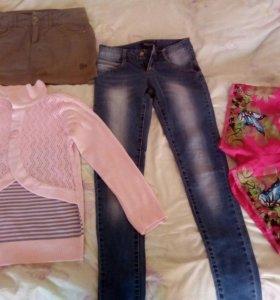 Джинсы, кофта, юбка, шорты.