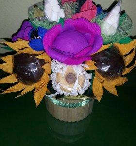 Чайный букет, цветы, букет из конфет