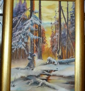 Зимний закат. 21×30см, масло.