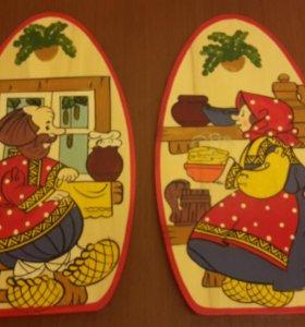 Доски разделочные деревянные (комплект из 2-х штук