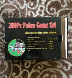 Покерный набор на 200 фишек с номиналом.