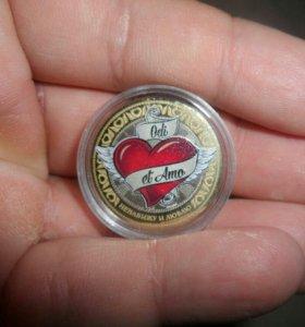 Цветная монета Сердце ангела