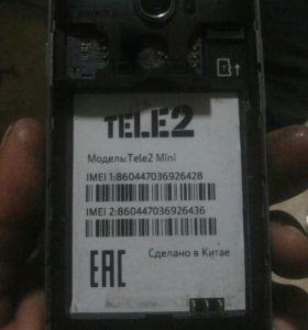 Телефон TELE2 MINI камера 5мп. Фронтальная2мп.