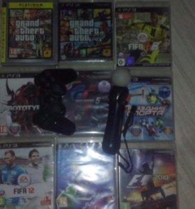 Ps3 с играми, камерой и мувом, обмен, продажа
