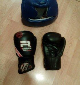 Шлем+перчатки для бокса