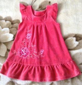 Нарядное велюровое платье на девочку