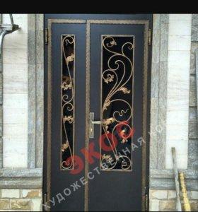 Металические двери , решётки., ворота навесы