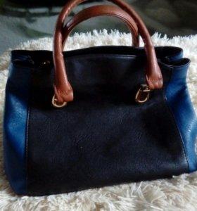 Сумка сине-черно-коричневая