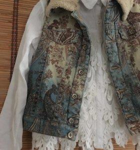 Рубашка и жилет джинсовый