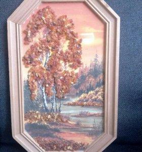 Картина из янтаря (27см. В рамке)