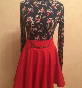 Красная юбка и водолазка 44-46 рр