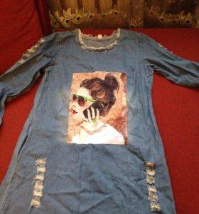 Новая туника платье джинса