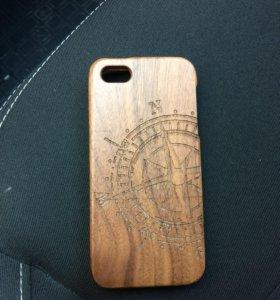 Чехол деревянный на iphone 5, 5 s,новый.
