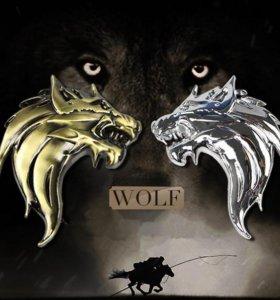 Наклейка эмблема волк на авто мото металл