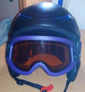 Шлем горнолыжный детский + очки