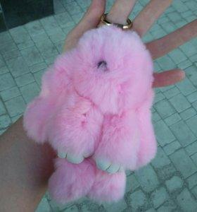 Брелок зайка(заяц, кролик) меховой
