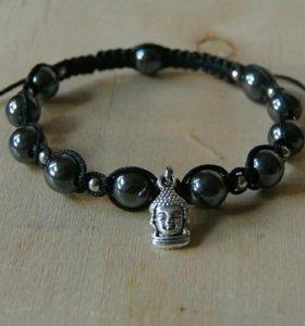 Мужской браслет-шамбала с гематитом (√2)