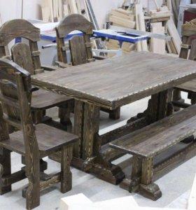 Комплект садовой мебели из массива дерева для дачи