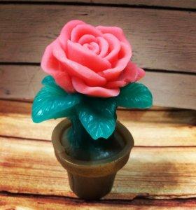 Роза в горшке- мыло ручной работы