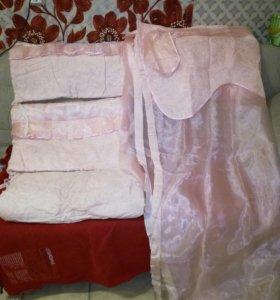 Комплект в кроватку: балдахин и бортики