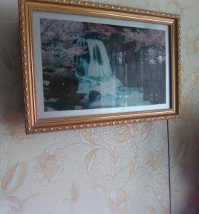 Картина с журчанием водопада и пением птиц,