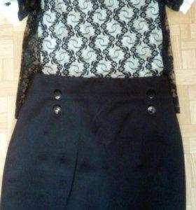 Юбка карандаш и блуза гипюр!