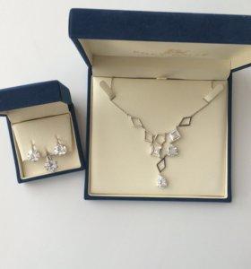 Набор серебро колье, серьги , кольцо с фианитами