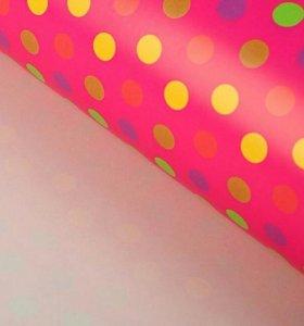 """Бумага упаковочная """"Горошек на розовом"""", 100 х 70"""