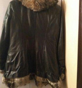 Кожпная куртка с мехом лисы