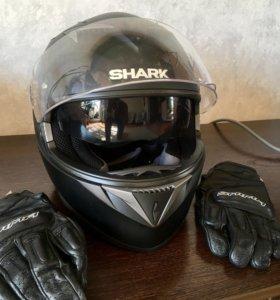 Мото шлем Shark и перчатки