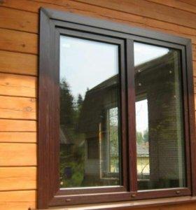 Окно двухстворчатое ПВХ с ламинацией