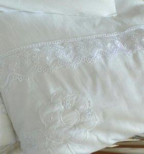 Одеяло, подушка, бортики в кроватку