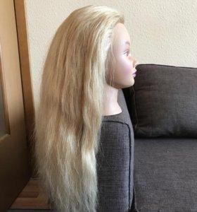 Маникен -голова натуральные волосы блонд