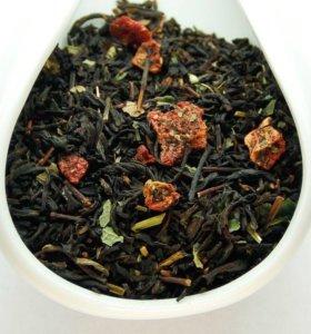 Черный ароматизированный чай Земляника со сливками