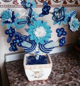 Цветы из бисера Гжель