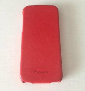 Красный кожаный б/у чехол-книжка для iPhone 5S/SE