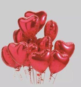 Фольгированные сердечки шарики