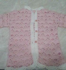 Вязанная кофта и платье для девочки с 1.5 года