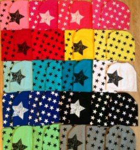 Красивые весенние комплекты шапочка и шарф снуд