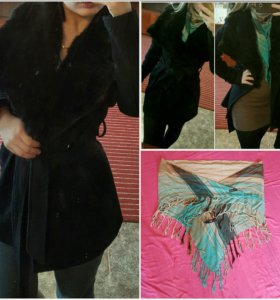 Пальто с мехом кролика и шарф