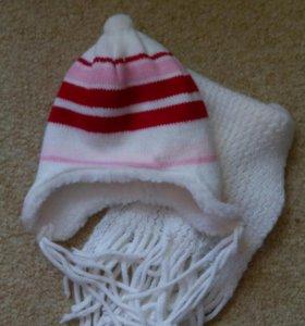 Шапка и шарф для девочки, новые, Польша, р50-52