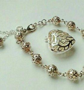 Набор серебро,браслет+кулон