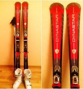 Горные лыжи, ботинки, палки - комплект