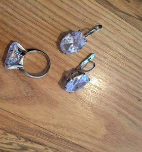 Кольцо и серьги,фианит