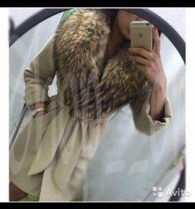пальто на ватине с мехом